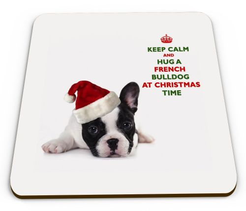 Christmas Keep Calm And Hug A French Bulldog Novelty Glossy Mug Coaster